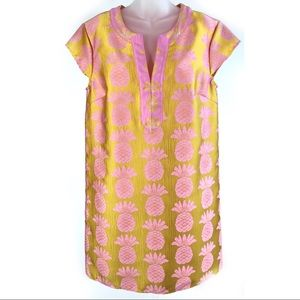 Julie Brown NYC Pineapple Shift Dress Gold Pink